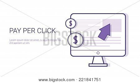 Pay Per Click Business Concept Web Banner With Copy Space Vector Illustration