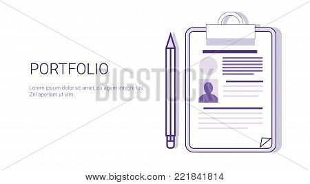 Portfolio Business Resume Concept Web Banner With Copy Space Vector Illustration