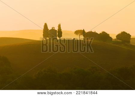 TUSCANY, ITALY - SEPTEMBER 24, 2017: September dawn at the Cappella della Madonna di Vitaleta