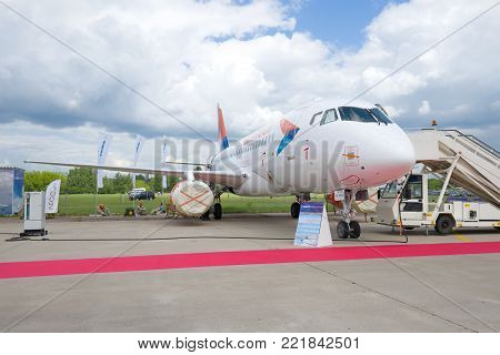 ZHUKOVSKY, RUSSIA - JULY 20, 2017: Russian plane Sukhoi Superjet 100 (RA-89080) Azimuth Airlines takes part in MAKS-2017