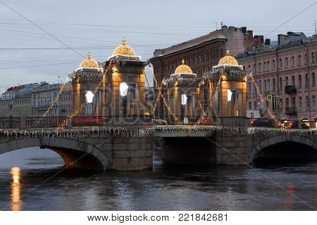 SAINT PETERSBURG, RUSSIA - DECEMBER 18, 2017: Lomonosov Bridge in the Christmas illuminations December morning