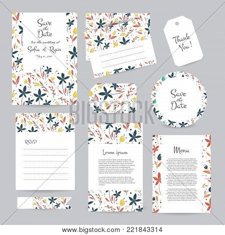 Vector gentle wedding cards template with flower design. Wedding invitation or save the date, RSVP, menu and thank you card for bridal design. Vector set of postcard with floral decoration.