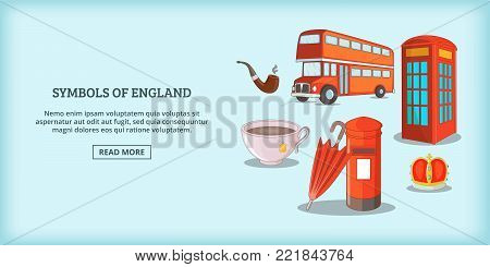 England symbols banner horizontal concept. Cartoon illustration of England symbols banner horizontal vector for web