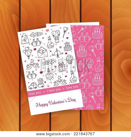 Vector greetings card for Valentine's Day with cute linear elements. Valentine's Day card template, front and back side with line icons and text isolated on wood background.