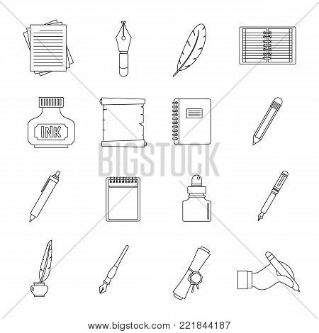 Writing icons set items. Outline illustration of 16 writing items vector icons for web