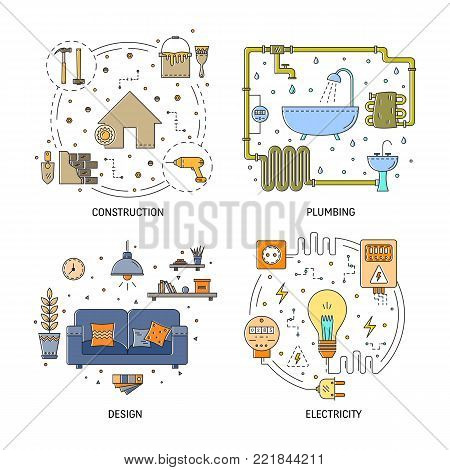 House repair vector flat line illustration set of construction, electricity, plumbing, interior design, building and repairing home apartment . Modern design vector concept