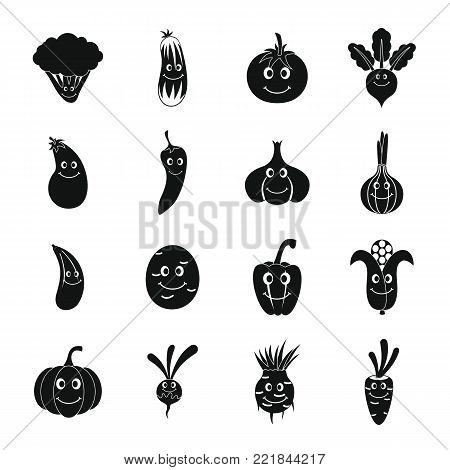 Smiling vegetables icons set. Simple illustration of 16 smiling vegetables vector icons for web