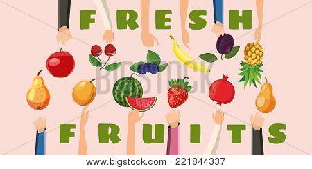 Fruit horizontal banner concept hand fresh choice. Cartoon illustration of fruit hand fresh choice vector horizontal banner for web