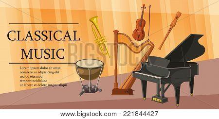 Classical music horizontal concept. Cartoon illustration of classical music banner horizontal vector for web