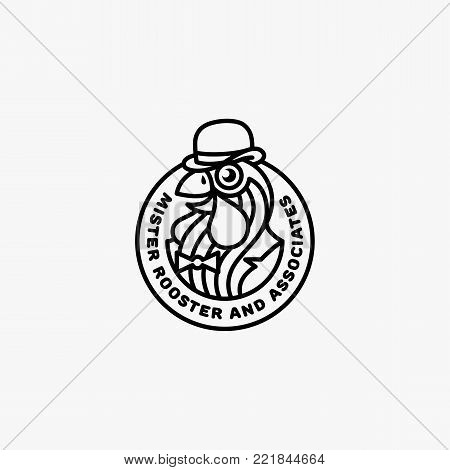 Logo template design with rooster in bowler hat. Vector illustration.