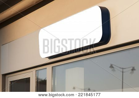 Blank sign store, large rounded rectangular banner