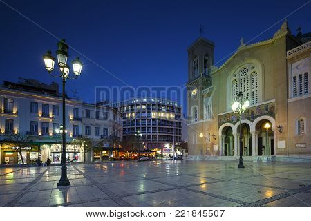 ATHENS, GREECE - JANUARY 9, 2018: Metropolitan cathedral of Athens located in Metropolis square in Athenian old town on January 10, 2018.
