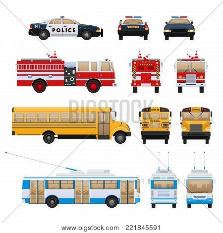 Set of urban transport. City cars, vehicles transport: fire service, school bus machine, rescue service, police. Side, front, rear view. City car rescue service. Vector flat illustration isolated