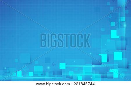 Abstract technology digital hi tech rectangles concept background. Space for your text