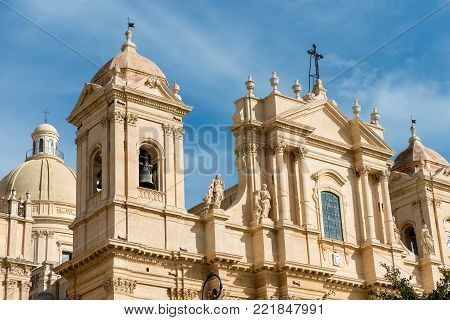 Basilica and cathedral of St. Nicholas of Myra (San Nicolo) in Sicilian baroque style. In the small town of Noto, Syracuse, Sicily, Italy