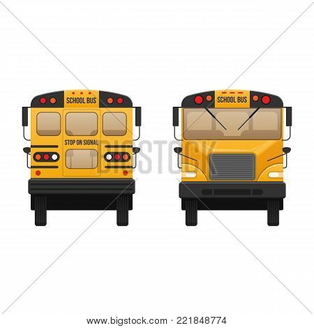 Yellow classic school children's bus. Modern education. Traveling with children, traveling, transportation on kids school bus. Front and rear view. Vector illustration in flat style.