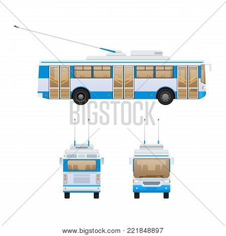 Passenger public modern urban transport: municipal trolley bus and intercity bus. Transportation of passengers. Front, side and rear view. Vector illustration in flat style.