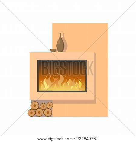 Classic fireplace made of natural stone and gypsum, with a metal oven, with bright burning flame. Comfortable, cozy, warm, home fireplace. Warm winter christmas interior bonfire. Vector illustration.