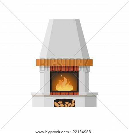 Classic fireplace made of natural stone and gypsum, with a bright burning flame. Comfortable, cozy, warm, home fireplace. Warm winter christmas interior bonfire. Vector illustration.