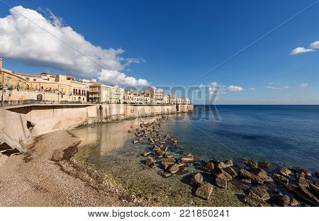 The Ortygia Island (Isola di Ortigia) and Mediterranean Sea. Syracuse (Siracusa) - Sicily Italy