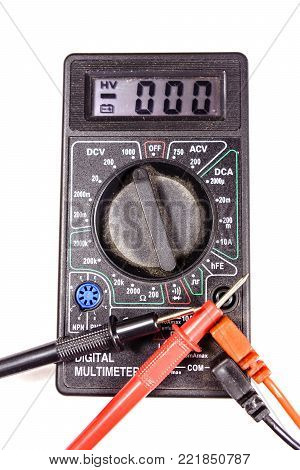Modern digital multimeter isolated on a white background