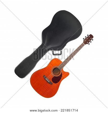 Musical instrument - Orange Flame maple cutaway guitar hard case on a white background.