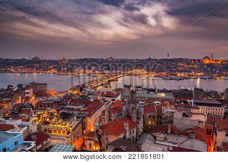 Panoramic view from Galata tower to Golden Horn, Istanbul, Turkey.