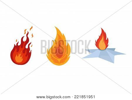 Set of different bonfires with a flame of fire, campfires and camping. Burning fire with wood and branches. Active rest, hiking, traveling. Vector illustration isolated.