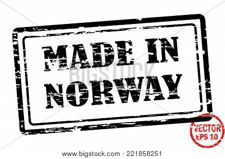 Made in Norway - template of grunged black square stamp for business isolated on white background. Usable as rubber, banner, label, logo, icon or watermark for manufactured products etc.