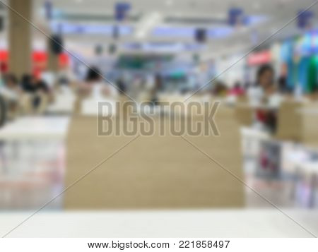 blurry of food court in shopping mall