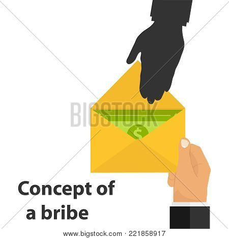 Bribe, concept of bribe. The hand gives an envelope with money. Corruption scheme. Flat design, vector illustration, vector.
