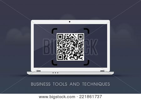 Business tools and techniques - QR Codes on laptop - cloud design