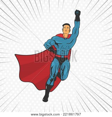 Vector Illustration Action Super Hero Fly Up