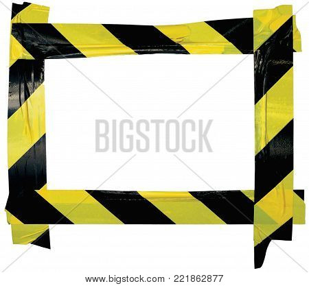 Yellow Black Caution Warning Tape Notice Sign Frame, Horizontal Adhesive Sticker Background, Diagonal Hazard Stripes Signal Safety Attention Concept, Isolated Large Detailed Closeup, Old Aged Weathered Grunge Pattern