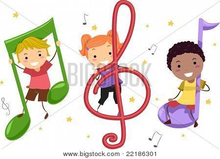 Illustratie van kinderen spelen met muzieknoten
