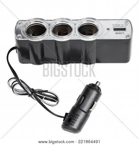 USB triple socket adapter converter plug with charging cable on car, isolated on white background with clipping path