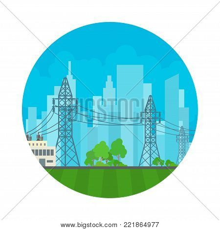 Icon High Voltage Power Lines Supplies Electricity to the City, Electric Power Transmission,  Illustration