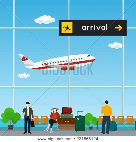 Waiting Room with People at the Airport, View of a Flying Airplane through the Window from a Waiting Room , Scoreboard Arrivals at Airport, Travel Concept, Flat Design,  Illustration