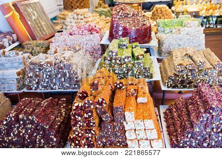 A Heap Of Turkish Flavors With A Variety Of Flavors And Snacks.
