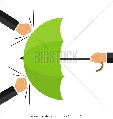 Protected from attack. The concept of protection from external attacks. The hand holds the umbrella against fists. Human security. Flat design, vector illustration, vector.