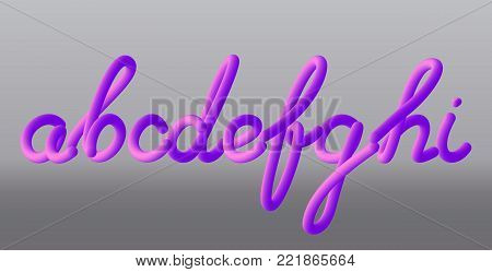 Set with letters a, b, c, d, e, f, g, h, i. Glossy pink paint letters. 3D render of bubble font with glint Typography vector illustration