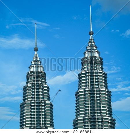 KUALA LUMPUR MALAYSIA SEPTEMBER 20 2017: The Petronas Twin Towers, formerly the tallest building in the world