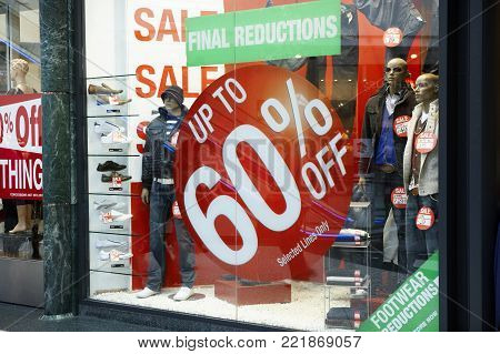 Shop Window Sale Sales Sign Price Reduction Save Saving Money Christmas January