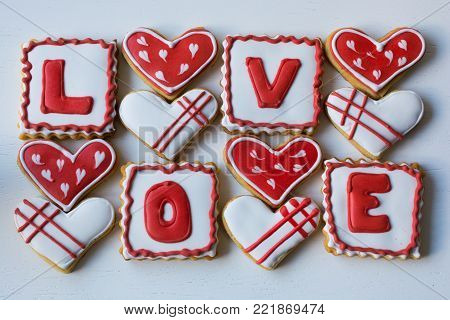 Cookies made for Valentine's Day.for couples in love. delicious love cookies. lovers cook