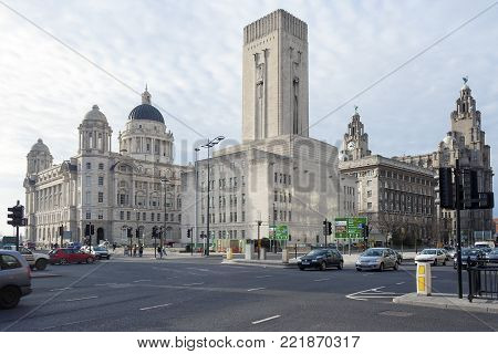 Liverpool, Merseyside, UK - February 20, 2009: The Three Graces buildings in Liverpool consisting of the Royal Liver building, the Cunard building and the Port of Liverpool building