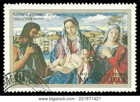 Mongolia - circa 1972: Stamp printed by Mongolia, Color edition on Art, shows Painting Madonna and Child with Saint John by Bellini, circa 1972