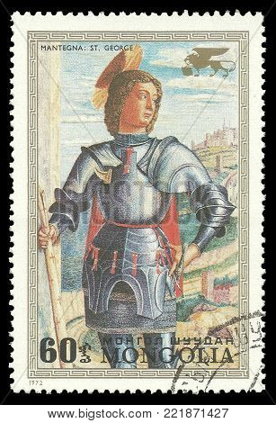 Mongolia - circa 1972: Stamp printed by Mongolia, Color edition on Art, shows Painting Saint George by Mantegna, circa 1972