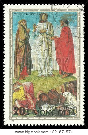Mongolia - circa 1972: Stamp printed by Mongolia, Color edition on Art, shows Painting Transfiguration by Bellini, circa 1972