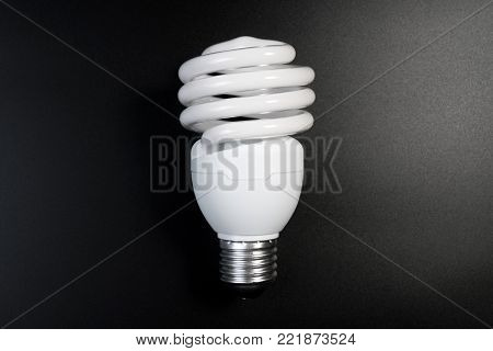 One Fluorescent Light Bulb In The Dark Room On Black Background For Energy Saving Concept. Energy Sa