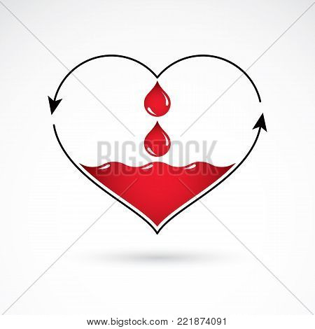 Vector illustration of heart shape with arrows and drops of blood. Blood circulation concept, rehabilitation creative symbol isolated on white.